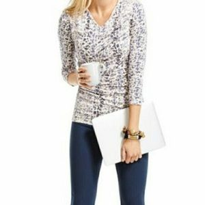 CAbi 262 By The Shore Double Drape Printed Blouse